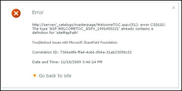 SP2010 Change Page Layout Error