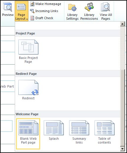 SP2010 Change Page Layout