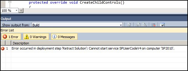 Visual Studio 2010 - SharePoint project deployment error