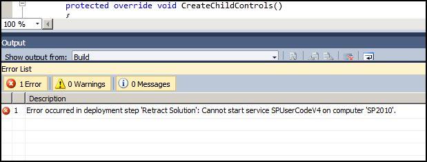 Visual Studio 2010 - SharePoint project deployment error