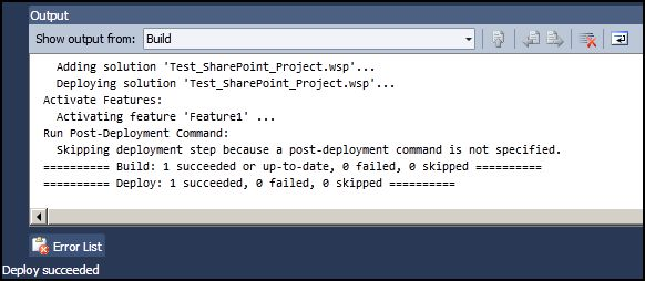 VS2010 Sharepoint Project Deployed